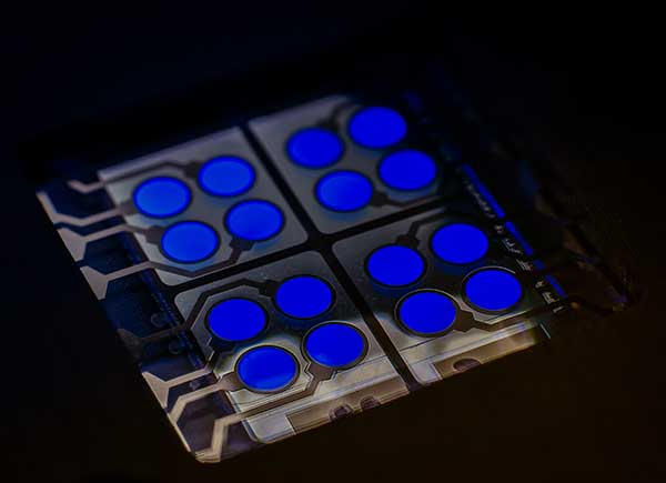 cyBlueBooster - CYNORA's Fluorescent Blue Emitter in OLED device <br /> (Picture: Dr. Harald Flügge, cynora GmbH)